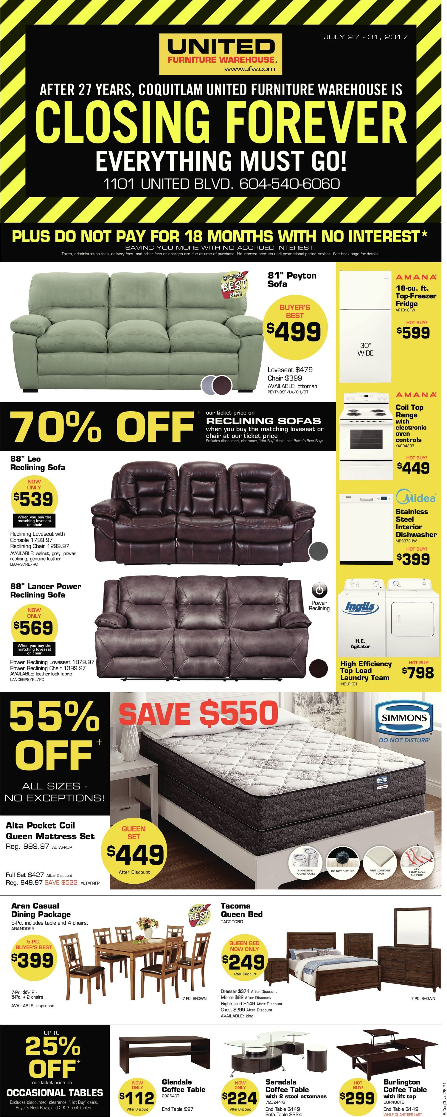 United Furniture Warehouse Weekly Flyer Closing Forever Everything Must Go Jul 27 31 Redflagdeals Com