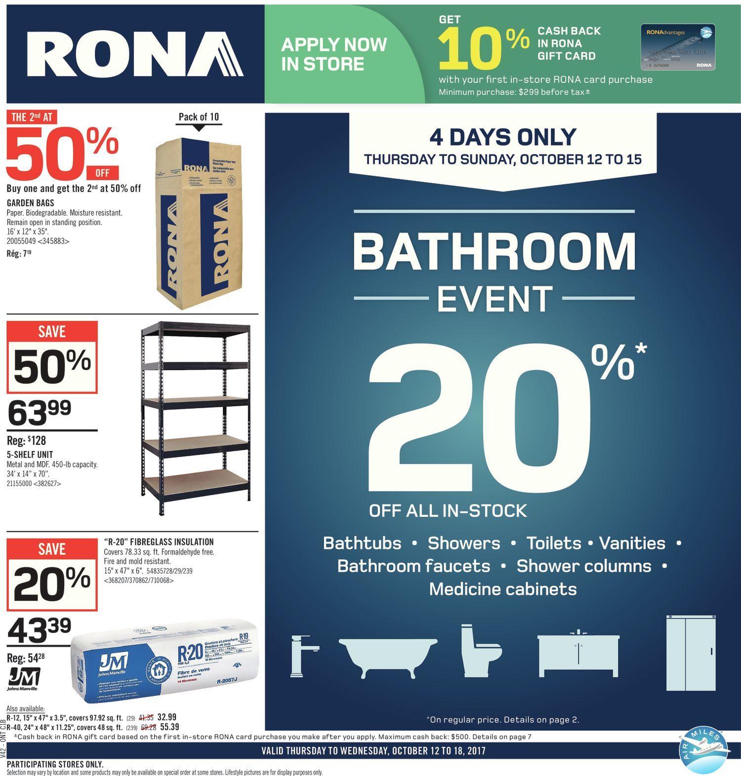 Rona Weekly Flyer - Weekly - Bathroom Event - Oct 12 – 18 ...