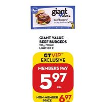 Giant Value Beef Burgers