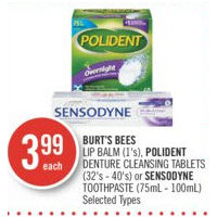 Burt's Bees Lip Balm, Polident Denture Cleansing Tablets Or Sensodyne Toothpaste