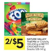 Nature Valley Trail Mix Or Crunchy Or Betty Crocker Fruit Snacks