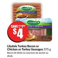 Lilydale Turkey Bacon or Chicken or Turkey Sausages