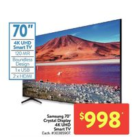 "Samsung 70"" Crystal Display 4K UHD Smart TV"