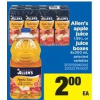 Allen's Apple Juice Or Juice Boxes