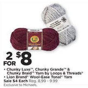 Michaels: Chunky Luxe, Chunky Grande & Chunky Braid Yarn by