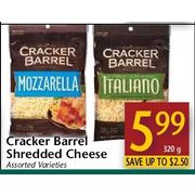 Cracker Barrel Shredded Cheese  - $5.99/320 g (Up to $2.50 off)