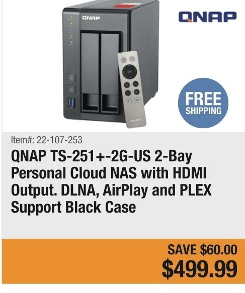 Newegg: QNAP TS-251+-2G-US 2-Bay Personal Cloud NAS with