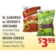El Saborso or Jensen's Orchard Chips Moon Cheese Crunchy Cheese Snacks  - $3.99