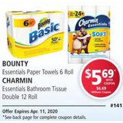 Bounty Essentials Paper Towels, Charmin Essentials Bathroom Tissue Double - $5.69/with coupon (15% off)